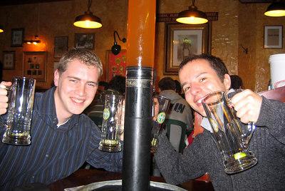 Rob and Michael enjoying Les Brasseurs - Geneva, Switzerland ... March 1, 2007