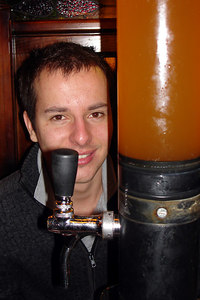Michael and his beer at Les Brasseurs - Geneva, Switzerland ... March 1, 2007 ... Photo by Rob Page III