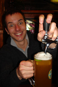Enjoying some apple beer from the column at Les Brasseurs - Geneva, Switzerland ... March 1, 2007 ... Photo by Rob Page III