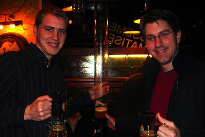Rob and Bryan enjoying the column of beer at Les Brasseurs - Geneva, Switzerland ... March 1, 2007 ... Photo by Emily Conger