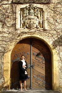 Emily is dwarfed by the entrance to the castle - Murten, Switzerland ... March 3, 2007 ... Photo by Rob Page III