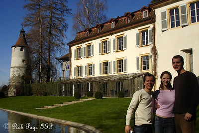 Michael, Emily, and Rob outside the Munchenwiler castle - Murten, Switzerland ... March 4, 2007 ... Photo by Rob Page III