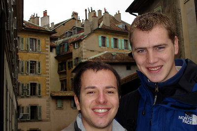 Michael and Rob in the Old Town - Geneva, Switzerland ... March 2, 2007 ... Photo by Emily Conger