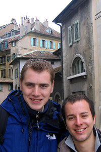 Rob and Michael wlaking around the streets of old town - Geneva, Switzerland ... March 2, 2007 ... Photo by Emily Conger