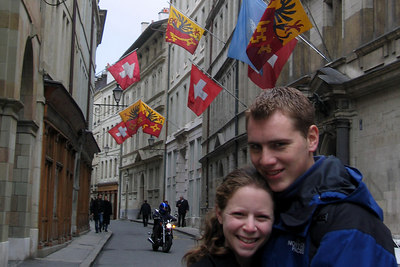 Rob and Emily walking down the streets in Switzerland - Geneva, Switzerland ... March 2, 2007 ... Photo by Michael Ruprecht