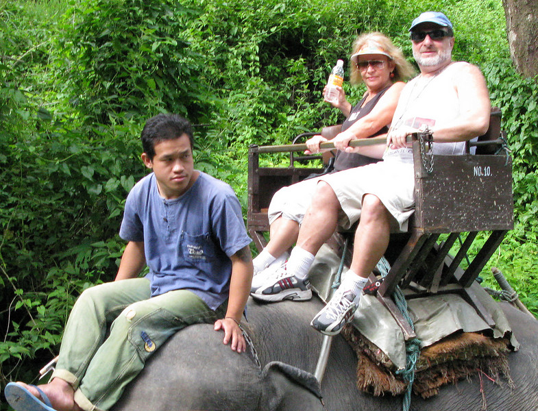 Valentin and Natalya taking an Elephant Ride