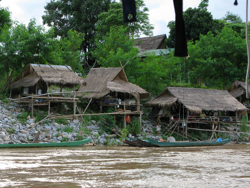 Shacks on the Thailand side of the Mae Kong River