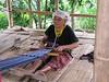 Ban Ruammitr (Karen Village) woman doing hand weaving crafts.