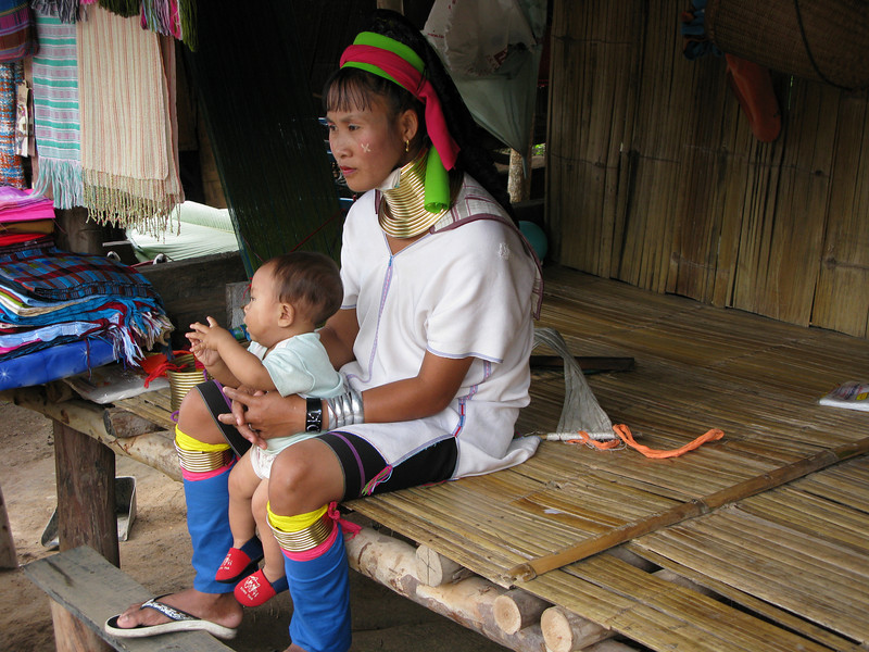 Padong Tribe woman and daughter ...