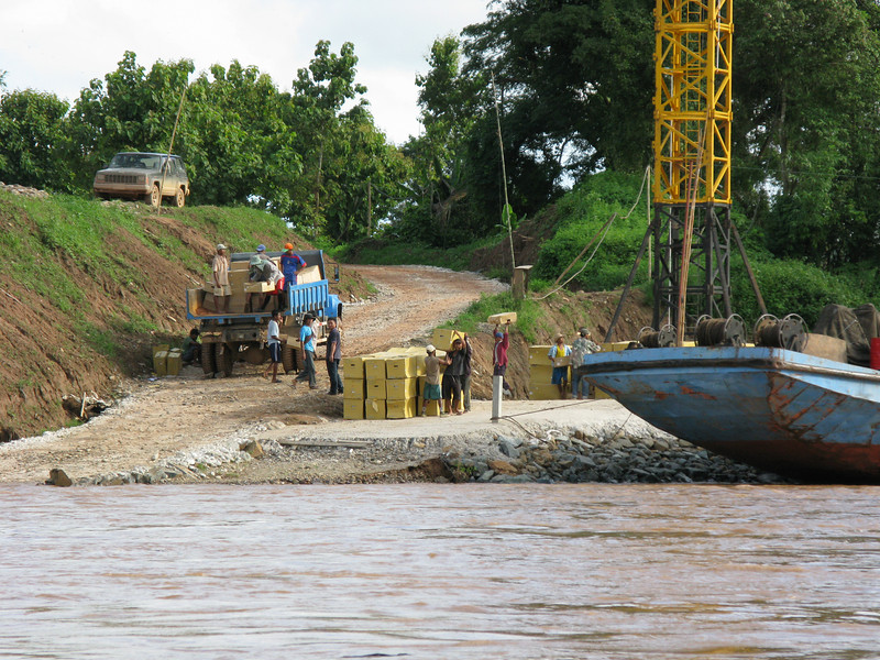 Hotel construction work on the Laos side of the Mae Kong River
