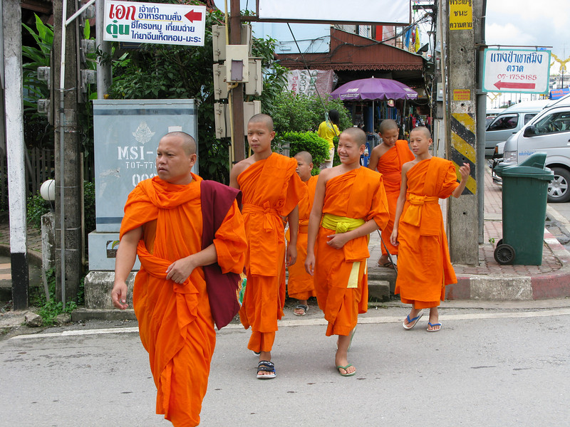 Monks at the Mae Sai Burmese border market.
