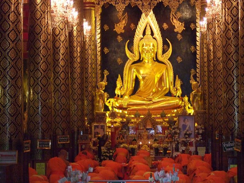 Monks Praying at the Budda Image Phraputhachinnaraj in Phitsanulok