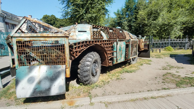 A display of war equipment outside the Dnipropetrovsk Natural History Museum in Dnipro, Ukraine.  Did Mad Max fight there?