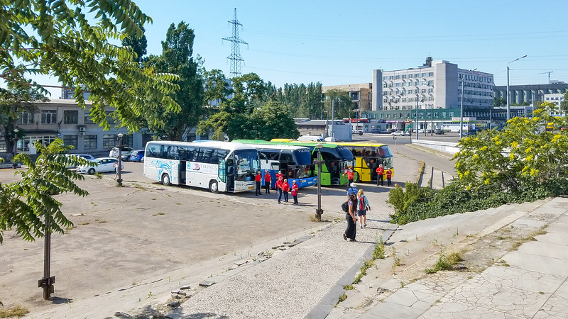 Busses loading for a Tour of Dnipro, Ukraine.