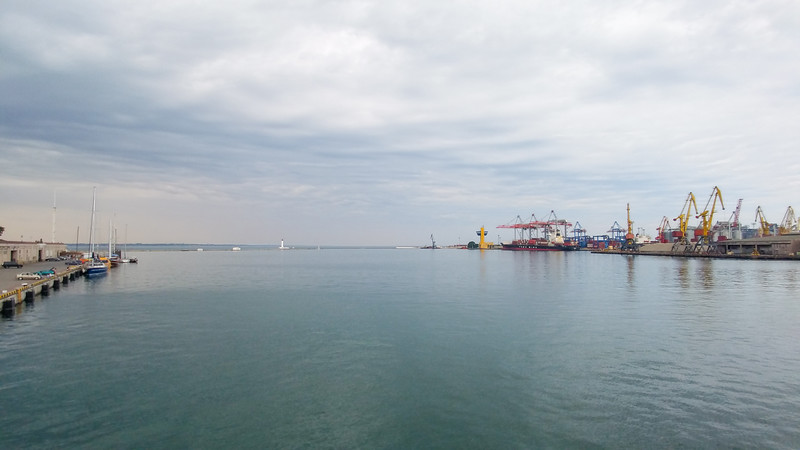 Entrance to the Port of Odesa from the Black Sea, Ukraine.