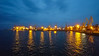 Industrial side of the Port of Odesa at night.
