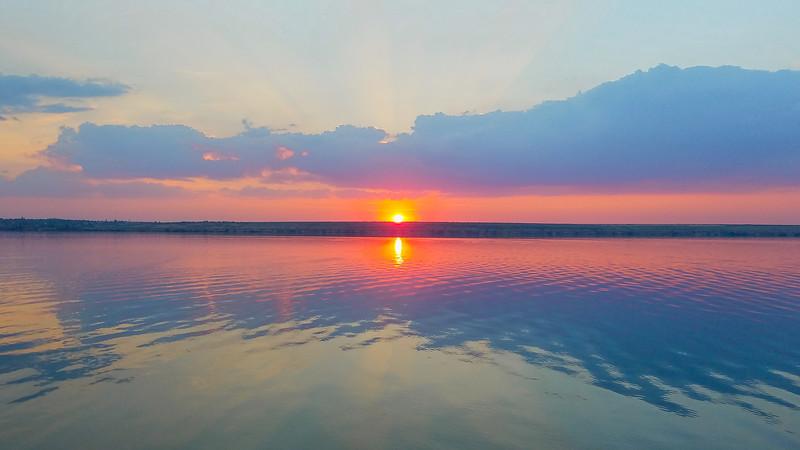 Sunset on the Dneiper River, Kherson, Ukraine.