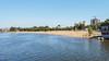 Beach front on the Dneiper River in the Port area of Zaporozhye, Ukraine.