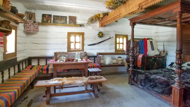 Cossack era housing and furnishings, Khortitsa Island, Zaporozhye, Ukraine.