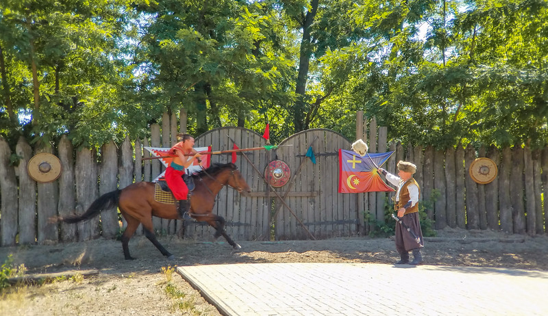Display of Cossack skills in handling horses and weapons. Kortitsa Island, Zaporozhye, Ukraine.