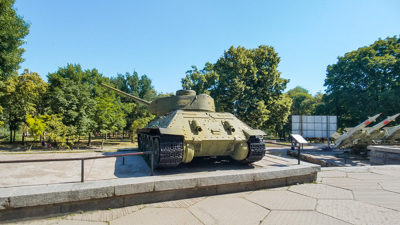 War armaments outside the Dnipropetrovsk Natural History Museum in Dnipro, Ukraine.