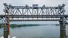 Raised railroad bridge along the Dneiper River on the way to Kremenchug, Ukraine.