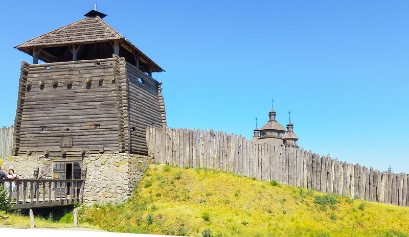 Recreated Cossack Fortress on Khortitsa Island, Zaporozhye, Ukraine.