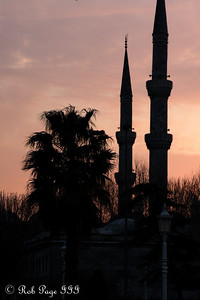 The Sultan Ahmed Mosque (Blue Mosque) at sunset - Istanbul, Turkey ... March 3, 2011 ... Photo by Rob Page III