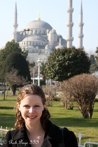 Emily in front of the Sultan Ahmed Mosque (Blue Mosque) - Istanbul, Turkey ... March 12, 2011 ... Photo by Rob Page III
