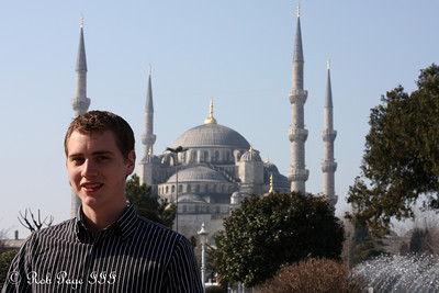 Rob in front of the Sultan Ahmed Mosque (Blue Mosque) - Istanbul, Turkey ... March 12, 2011 ... Photo by Emily Page
