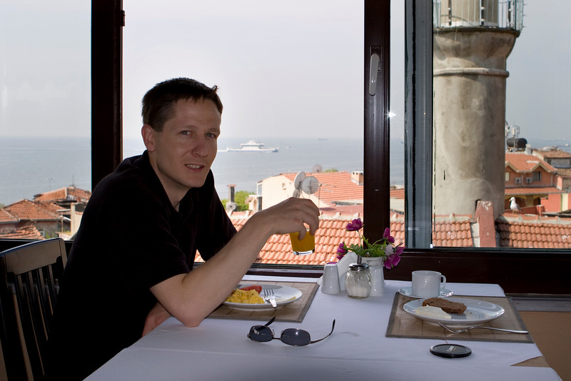 The view from the breakfast terrace of the B&B in Istanbul. Overlooking the Sea of Maramara.