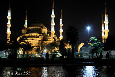The Sultan Ahmed Mosque (Blue Mosque) at night - Istanbul, Turkey ... March 4, 2011 ... Photo by Rob Page III