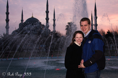 Rob and Emily in front of the Sultan Ahmed Mosque (Blue Mosque) - Istanbul, Turkey ... March 3, 2011