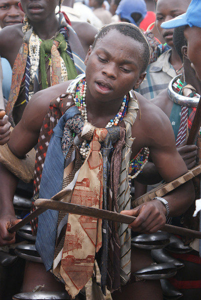 It is tradition in one of the tribes of Uganda to perform a circumcision on young men coming of age. I was invited to attend on of the festivals. The day starts with the young men, dressed in a traditional way, dancing and singing. The day of festivities helps prepare the boys for the anesthetic free circumcision. After the ceremonial, public cutting, the boys retreat to a private hut where they are passed into manhood. To read an excellent first hand account, read Nelson Mandala's autobiography.