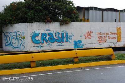 An example of the graffiti and political slogans found on the walls along the streets - Caracas, Venezuela ... August 8, 2013 ... Photo by Rob Page III