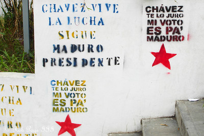 An example of the graffiti and political slogans found on the walls along the streets - Caracas, Venezuela ... August 9, 2013 ... Photo by Rob Page III