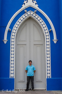 Pedro in front of the Santa Barbara Church - Maracaibo, Venezuela ... August 11, 2013 ... Photo by Rob Page III