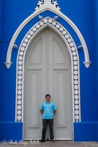 Pedro in front of the Santa Barbara Church - Maracaibo, Venezuela ... August 11, 2013 ... Photo by Rob Page III