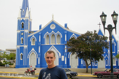Rob in front of the Santa Barbara Church - Maracaibo, Venezuela ... August 11, 2013