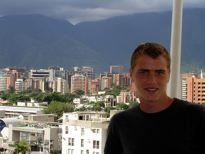 Rob and the view from the Tolon mall, a mall designed by Pedro's father - Caracas, Venezuela ... September 26, 2005 ... Photo by John Reardon