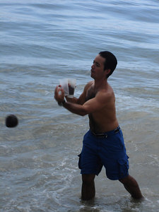 Playing some football with the coconut - Choroni, Venezuela ... September 24, 2005 ... Photo by Rob Page III