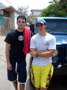 John and Pedro waiting to go to the beach - Choroni, Venezuela ... September 24, 2005 ... Photo by Rob Page III
