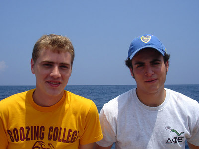 Pedro and Rob enjoying the sun - Choroni, Venezuela ... September 24, 2005 ... Photo by John Reardon