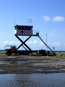 The air traffic control tower at the Los Roques Airport - Los Roques, Venezuela ... September 30, 2005 ... Photo by Rob Page III