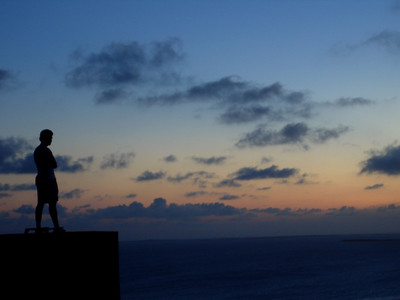 Pedro watching the sunset - Los Roques, Venezuela ... September 30, 2005 ... Photo by Rob Page III