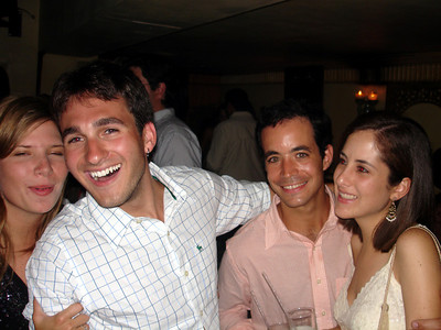 Adriana, John, Alex, and ??? celebrating John's birthday - Caracas, Venezuela ... September 29, 2005