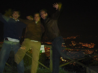 Pedro, John, and Rob with the city in the background - Caracas, Venezuela ... September 22, 2005 ... Photo by Rob Page III