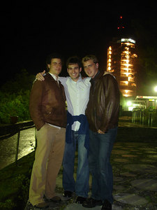 Pedro, John, and Rob hanging out at the top of El Avila with the Hotel Humboldt in the background - Caracas, Venezuela ... September 22, 2005 ... Photo by Rob Page III