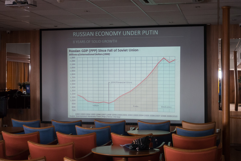 A shipboard lecture on the Russian economy under Putin.