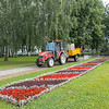 Park grounds keepers at work in Yaroslavl, Russia.